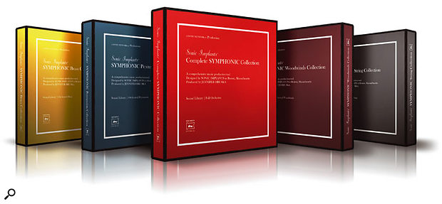 The Complete Symphonic Collection (shipped in the fetching red box in the centre) comprises the previously reviewed Symphonic Brass Collection (left) and Symphonic Strings Collection (right), together with the new Woodwind and Percussion libraries.