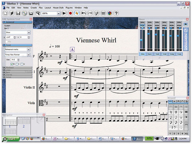 Sibelius 3 in all its glory. And yes, the notes are meant to be funny...