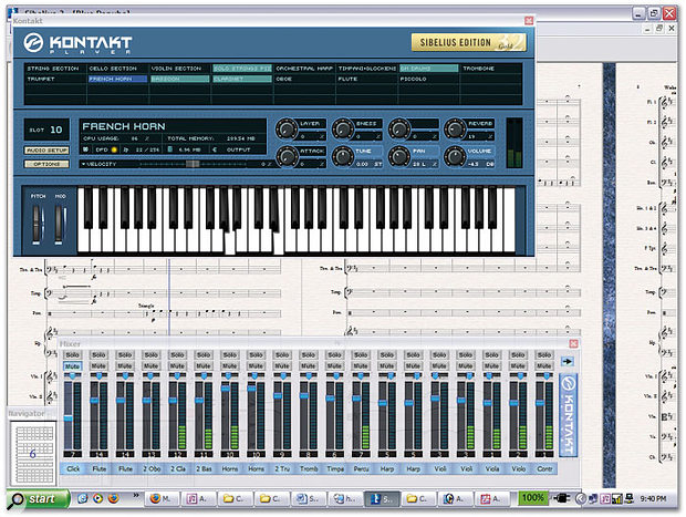 In collaboration with Native Instruments, Sibelius 3 features an embedded version of Kontakt Player to provide integrated sample playback and the ability to create an audio track from a Sibelius score with just a couple of mouse clicks. Above you can see the optional Kontakt Player Gold, along with the standard Sibelius mixer.