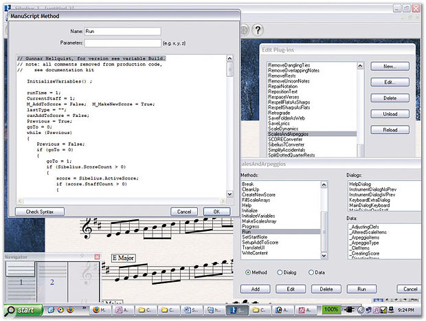 Sibelius' ManuScript plug-in development windows showing the guts of the Scales and Arpeggio plug-in — a result of using this 'new for version 3' tool can be vaguely seen in the background.