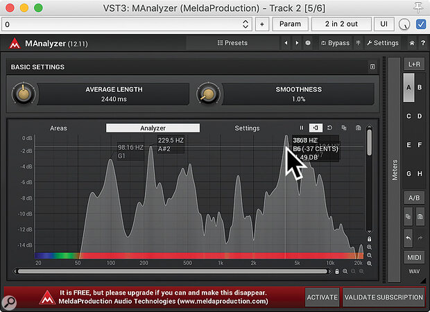 A good frequency analyser, such as Melda's free MAnalyzer, can help you tune EQ and de‑essers quickly and accurately.author screen