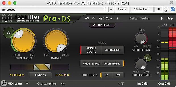 FabFilter's Pro‑DS gives you loads of control, but particularly handy is the headphone icon, which allows you to hear only what the de‑esser is removing — a great help when fine-tuning things to minimise unwanted side‑effects.