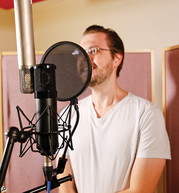 Our voice-over artist for the day, Jules Harding, comparing the Slate VMS with an AKG C12.