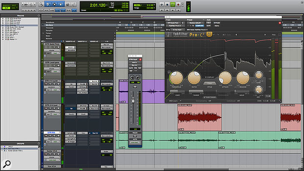 Having already multed the guitar into 'quiet' and 'loud' tracks, parallel compression was used to control the guitars' dynamics as naturally as possible.