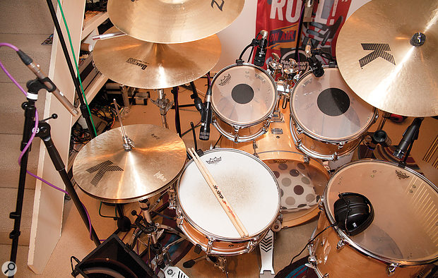 Here you can see the positions of the snare, tom, and hi‑hat mics. Notice in particular that the snare mic isn't positioned right up against the drum head, which helped give a brighter and more complex timbre.