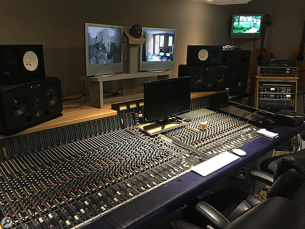 The Harrison console in Francis Rossi's home studio, with some of the other gear mentioned in this article in the rack to the right, including dbx 160 and Drawmer 1960 compressors.