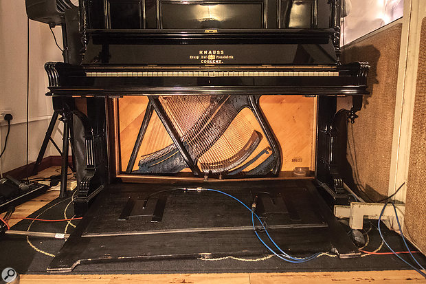 Two pairs of mics were used on the upright piano — the rear was miked with spaced dynamic mics, while a pair of inexpensive PZM mics was taped inside the piano. The former provided a nice, 'poky' mid-range, to which the latter added a fuller bottom end.