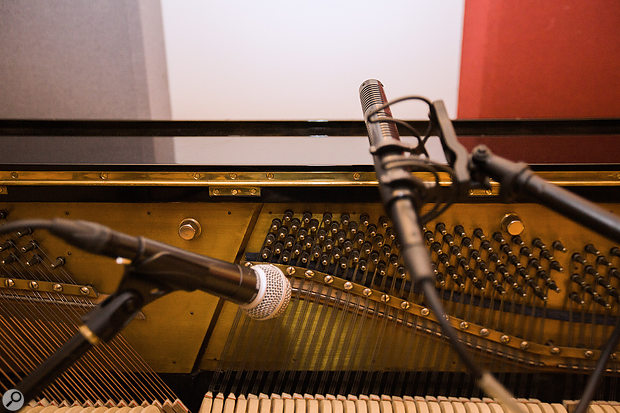 A Royer SF-12 Stereo Mic was used to capture the upright acoustic piano, while an SM58 dynamic mic fed the Leslie speaker.