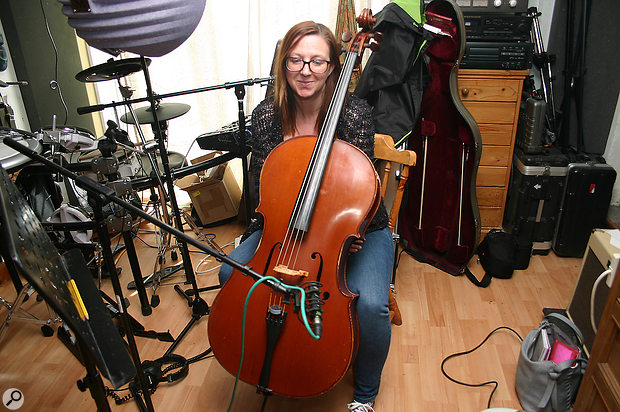 Rebecca plays cello overdubs, which were captured in Paul's studio using a Lewitt LCT-140 Air mic.
