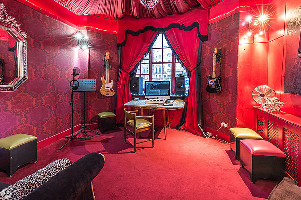One of Ian's jobs on this project was to convert 'amazing spaces' like this, Hotel Pelirocco's Sing Star Suite, into both a  workable studio and a  relaxed, creative songwriting environment.