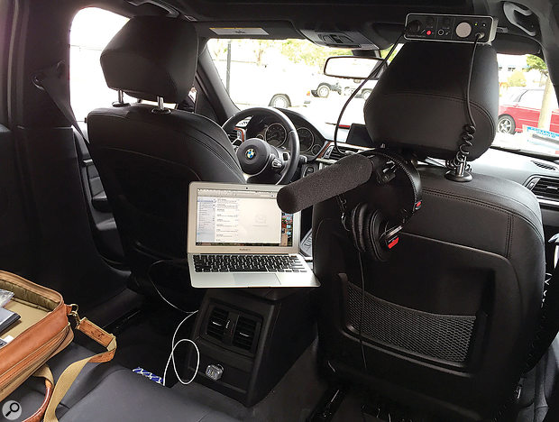 Joe also records broadcast-quality audio from the backseat of his car. Parked in a quiet area, an automobile makes an effective vocal booth, since the air-tight interior provides a balanced acoustical environment.
