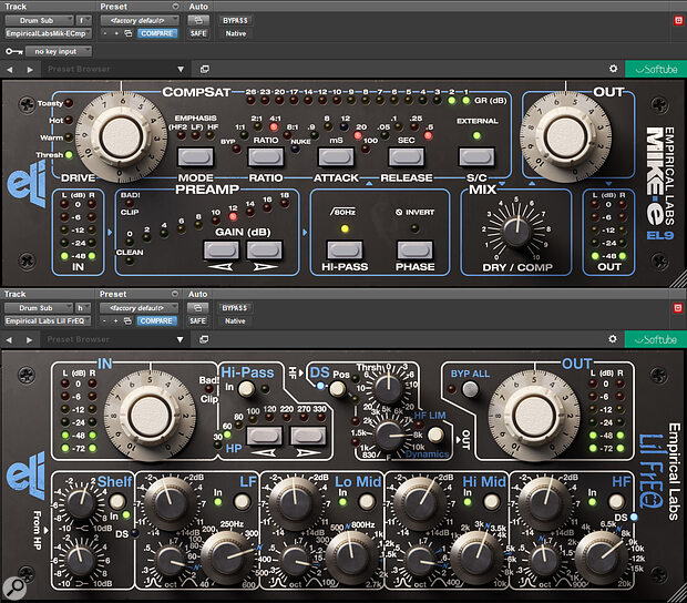 Softube's Mike‑E Comp (top) and Lil FrEQ plug-ins offer beautiful emulations of the Empirical Labs hardware.