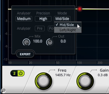 LP EQ's Expert Mode is the key to doing Mid-Sides EQ processing. Also note the Mix control for doing parallel processing.