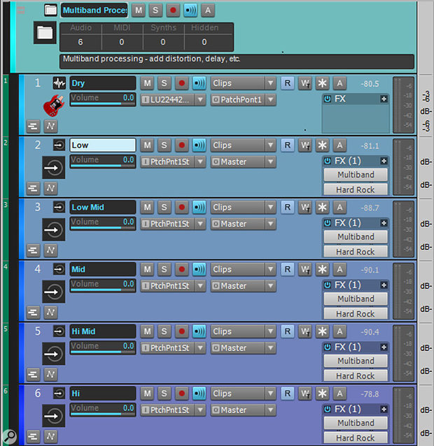 Loading this track template for multiband guitar distortion inserts a track for input, five aux tracks, five guitar amps, and five multiband limiters serving as crossovers, all contained within a Track Folder.