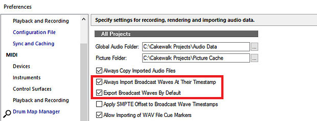 Broadcast WAV Files can be exported and imported with time-stamp data intact, so that they'll always end up in their original place on the timeline.