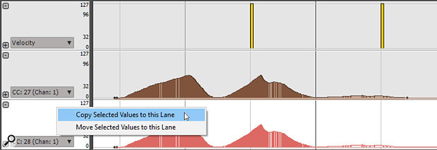The data in the Controller 27 automation lane (coloured brown) has been selected, and right-clicking in the header for Controller 28's automation lane (red) copies the data into it.