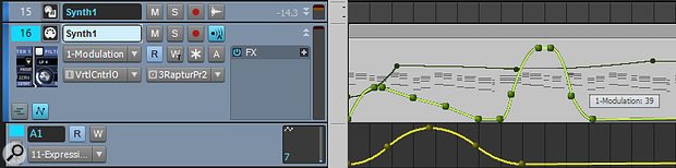 Screen 3: The Modulation and Volume automation lanes are hidden, which 'ghosts' them in the MIDI track. The Modulation envelope is highlighted because it's selected for editing. The Expression envelope remains in an automation lane.