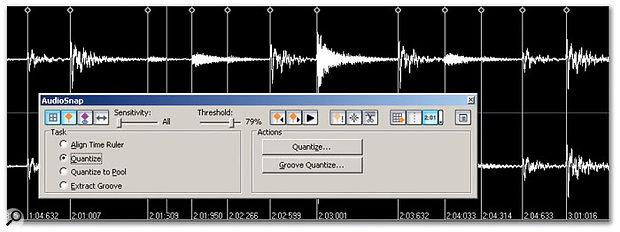 A clip has been Audiosnap-enabled and transient markers have been placed automatically within the file.