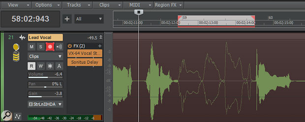If Mute Previous Takes is enabled in Preferences, as soon as you hit record (even if it's outside of the punch region), Sonar indicates the section that's muted with an outlined waveform.