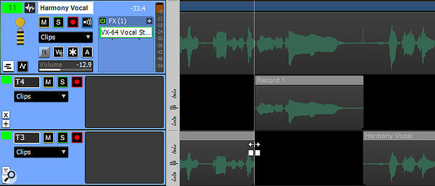 Even if you choose overwrite mode, although there's a 'hole' the audio still exists — so you can use the Crossfade tool to tweak the split between the punched part and the original track.