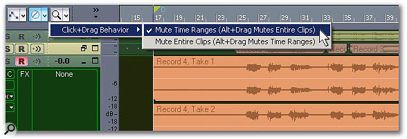 For editing composite takes, it's important to be able to mute over specific ranges of times rather than the entire clip.