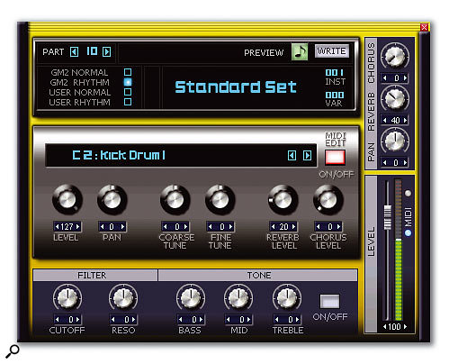 The drum programs have some parameters that are individually editable for each drum sound (middle section), as well as parameters that alter all drum sounds in the program.