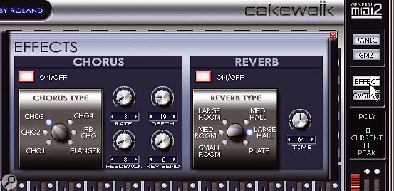 Choose the chorus and reverb algorithms, then adjust the parameters as desired. If you're not using the processors, turn them off to save CPU power.