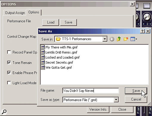 You can create a library of TTS1 performance setups for use in any project.