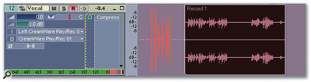 Confidence Recording in Sonar 3: the waveform in red — an overdubbed vocal being added in front of a previously recorded vocal — is being drawn in real time.