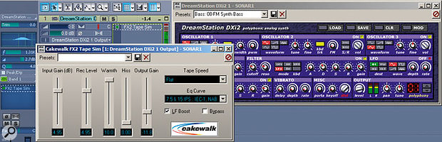 One way to get some really tough, growling bass sounds out of the Dreamstation is to follow it with the FX2 Tape Sim processor.