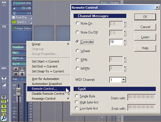 When the FX button in the Console View's toolbar glows blue, you can see up to four effects parameters associated with the selected effect in the FX slot (see 'Remote Effects Control'). These are easy to control remotely and automate.