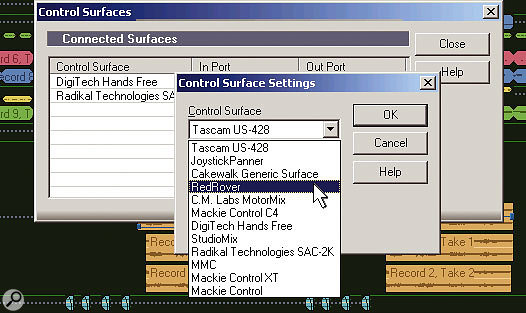 Installing Red Rover is simple: Just select it from the list of supported control surfaces in Sonar.