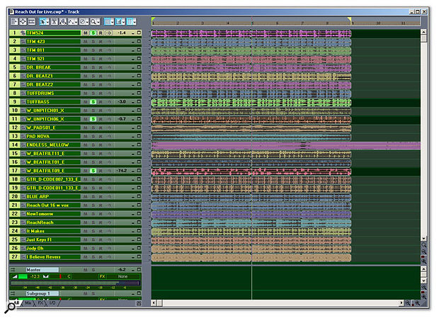 About 50 loops had been dragged into Sonar, and they were whittled down to these 27. Some of the loops are being solo'd to see if they'll work well together as a 'scene' in Ableton's Live.