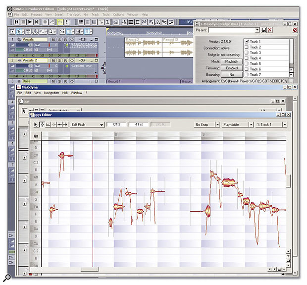 It's not quite a plug-in and not quite an instrument, but MelodyneBridge provides a link between tracks in Sonar and Melodyne.