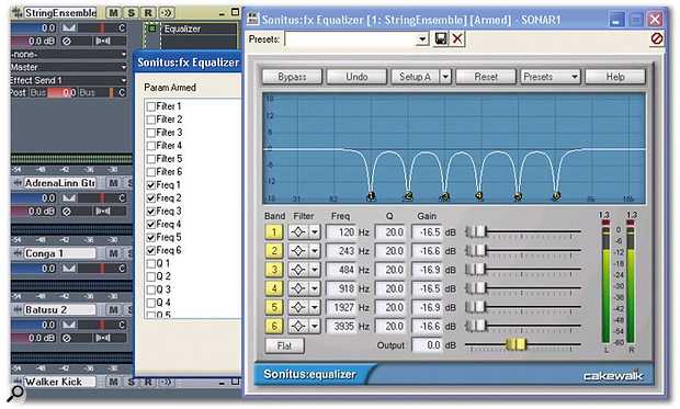The equaliser has been set up for the type of frequency response produced by a phase shifter; the six filter markers have been linked together, then armed for automation in a separate window.