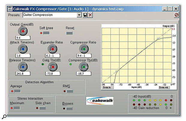 The FX Compressor/Gate has an interactive graph on which you can drag nodes to set various parameters. Also note the option to set a soft-knee response, which gives a gentler compression action when a signal exceeds the threshold. Setting the response to 'soft' affects the expansion curve as well.