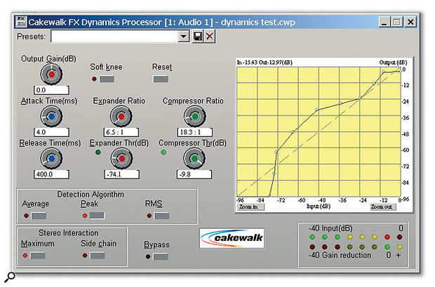 The FX Dynamics Processor. Note the unusual dynamics curve. Being able to add and move nodes (up to eight, not including the fixed highest and lowest nodes) allows you to rearrange the dynamics of an audio signal in useful — as well as radical — ways.