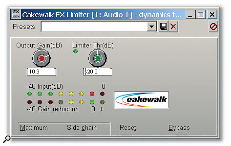 The FX Limiter is a pretty simple plug-in, but note the unusual Maximum and Side Chain buttons toward the lower left.
