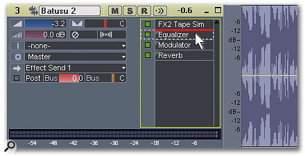 Insert EQ into the FX bin, click on it, and drag it into whatever position you want in relation to the other inserted effects.