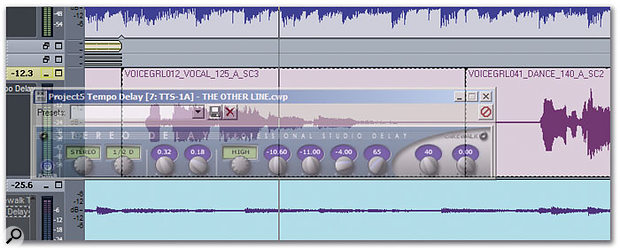 The delay-line processor has been set to maximum transparency using Glass2K, so it's relatively easy to see the waveform it's processing.
