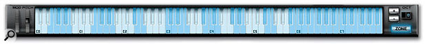 A close-up of the plug-in's keyboard, with the Zone button enabled. Individual samples or keygroups are differentiated by the alternating blue and white shading.