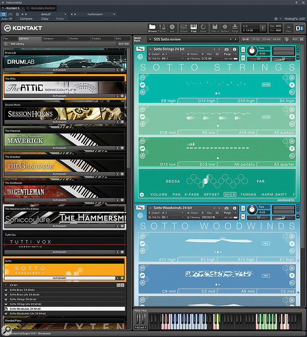 Sotto Strings and Woodwind loaded up in Kontakt 5 ready to be played simultaneously. The graphic score fields in each depict the loaded samples, although there are also more exact coded references (like 'E9 high') to what you have loaded.