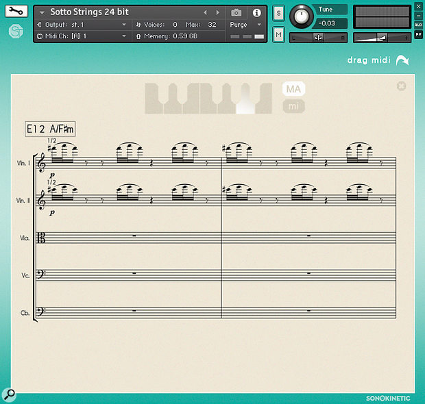 An overlay for each phrase field puts meat on the graphic score bones, and lets you see the notation Sotto's orchestra played from. The 'drag midi' feature at top right lets you get matching MIDI notes into your DAW for layering other instruments with the same material.