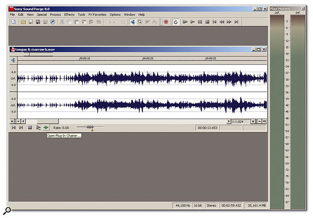 A single sound open in a window, ready to be edited. Common procedures are available from the drop-down menus under Process and Effects. VST and DX effects can be called up from the Plug-in Chainer tool highlighted by the cursor.