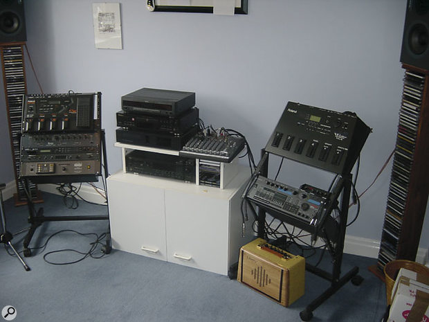 The original setup, along the side wall.