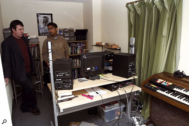 Paul surveys Jazz and Alessia's home studio setup, and listens to some test tracks over the monitors to assess its performance.