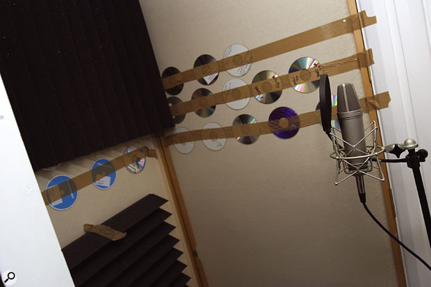 By taping old demo CDs to the walls of the vocal booth at around head height, enough high-frequency reflection was reinstated to provide a nicely balanced overall sound.