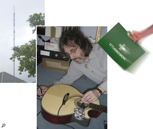 The nearby transmitter mast was spoiling Gordon's acoustic guitar recordings. However, experiments with kitchen foil showed that the problem could be solved by creating an earthed shield around the body of the guitar's pickup system.