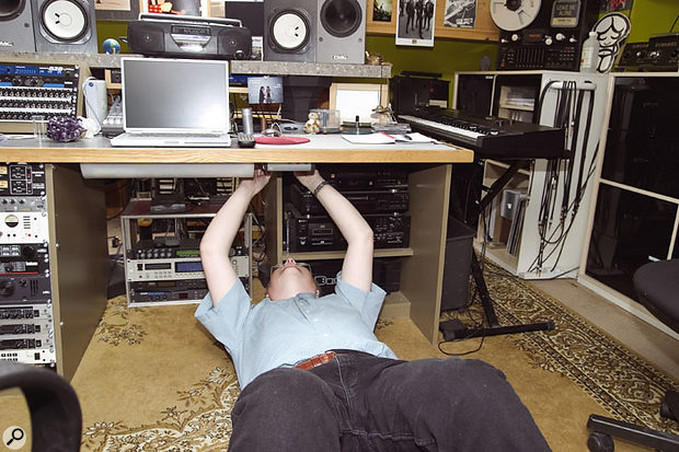 The Yamaha NS10 monitors were out of phase, so Hugh set about finding the cause of the problem. In the end the fault was traced to the monitor switcher mounted under the desk — the NS10s had been incorrectly connected.