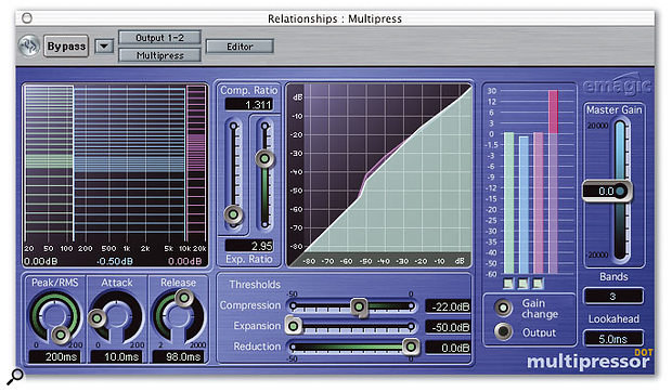 Here you can see how Logic's Multipressor plug-in was set up to subtly enhance David's mixes. The number of bands was reduced to three, and low-threshold, low-ratio compression was applied in each band. In addition, the make-up gain for the middle band was reduced by half a decibel to create a slight 'smile curve'.
